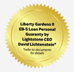 Được đảm bảo hoàn vốn bởi David Lichtenstein - Người đã sáng lập và phát triển Lighstone