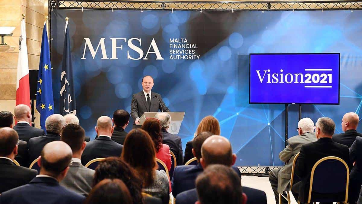 Họp báo thiết lập mục tiêu xây dựng MFSA trở thành cơ quan quản lý tài chính hàng đầu tại châu Âu. Ảnh: FintechNews.