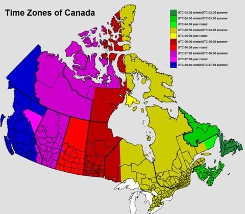 Múi giờ Canada so với Việt Nam