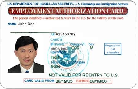 Giấy phép lao động (employment authorization card)