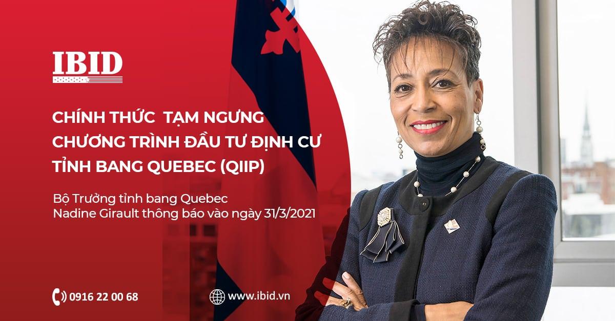 Tỉnh Bang Quebec tạm ngưng chương trình Đầu Tư đến năm 2023